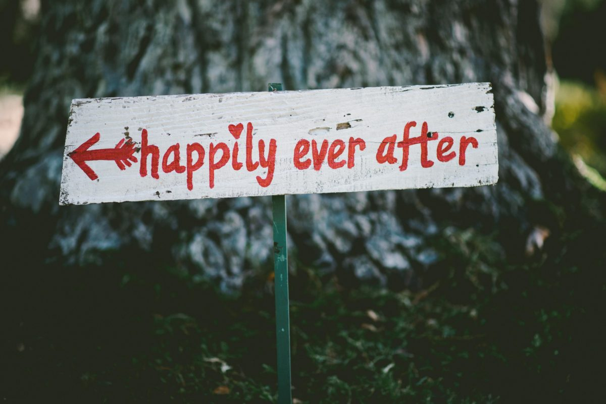 Happily ever after sign on tree